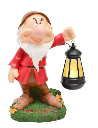 Woods International Disney Garden LED Statue, 12-Inch, Grumpy
