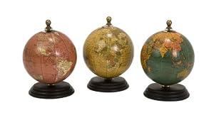 IMAX Corporation 73027-3 Antique Finish Mini Globe On Wood Base - Set of 3
