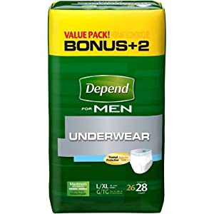 Depend For Men Underwear, Maximum Absorbency, Large/Extra Large, 104-Count ,Depend-hjek by Depend