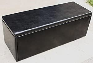 extra large black faux leather ottoman toy storage blanket box kitchen home. Black Bedroom Furniture Sets. Home Design Ideas