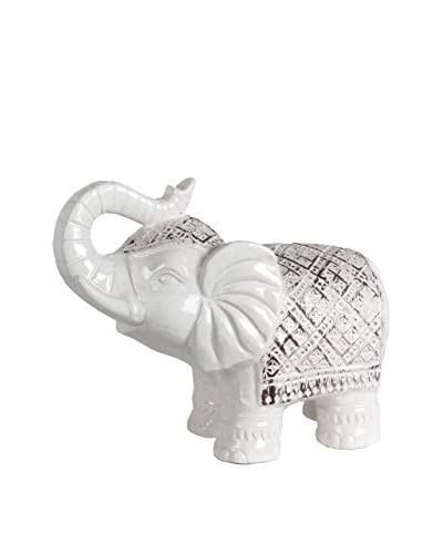 Antiqued Ceramic Elephant, White