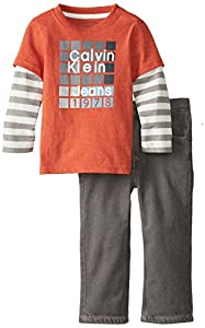Calvin Klein Little Boys' Twofer Tee with Pants, Orange, 7