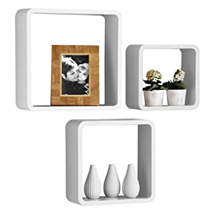 Premier Housewares Wooden Wall Cubes - Set of 3 - White