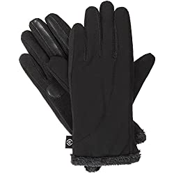 Isotoner Women's Softshell Gloves with Therma Flex Core and Smart Touch Technology, Black, Small/Medium