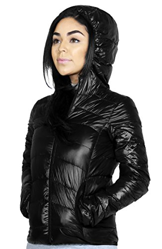 Casual Active Hooded Down Feather Light Weight Vest & Jacket For Women (SMALL, BLACK-J9720)