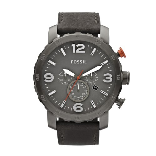 FOSSIL Nate Chronograph Leather Watch - Grey