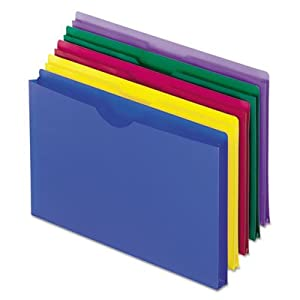Expanding File Jackets, Legal, Poly, Blue/Green/Purple/Red/Yellow, 5/Pack, Sold as 1 Package