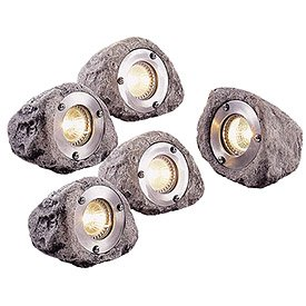 Master Craft Low Voltage Outdoor Rock Light Set Of 5 Landscap