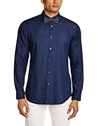Adamo London Men's Casual Shirt (SHTADSU16029_Small_Indigo)