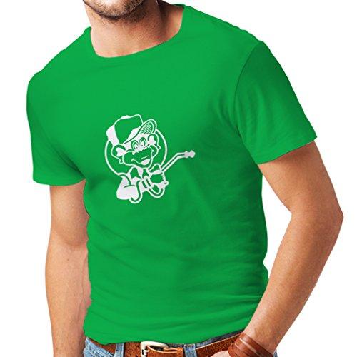 N4055 T-shirt da uomo Funny Gas monkey (Medium Verde Bianco)