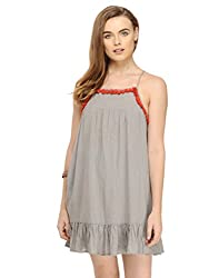 Solid Grey Dress With Tassels Large