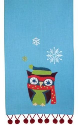Pretty Winter Snowflakes Decorative Owl Fringe Trim Print Dish Towel Split P