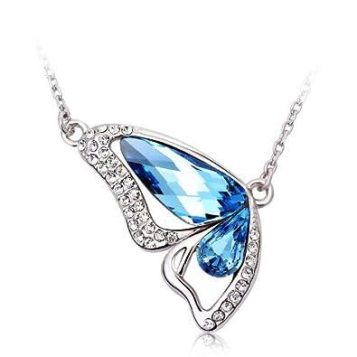 """Swarovski Elements Blue and Pink Crystal Teardrop Flower Pendant Necklace, 16.5 + 2"""" Extender"""