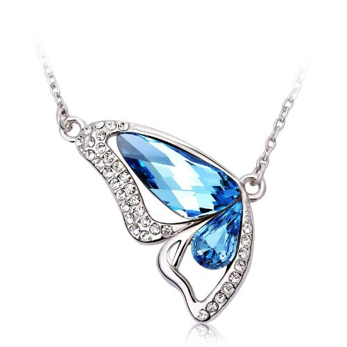 LOVE Beauties Dancing Butterfly Platinum/white Gold Plated Austrian Crystal Swarovski Elements Crystal Pendant Necklace for Women in a Gift Box (Blue) (Crystal Butterfly Pendant compare prices)