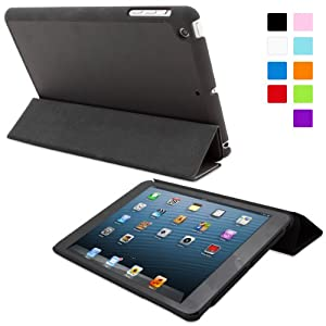 Snugg iPad Mini Ultra Thin Smart Case in Black - Flip Stand Cover with Auto Wake and Sleep for Apple iPad Mini