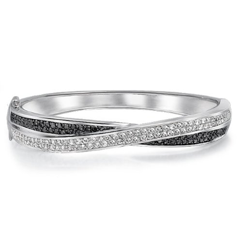 Bling Jewelry Pave Black and White Criss Cross Bangle Bracelet Cubic Zirconia