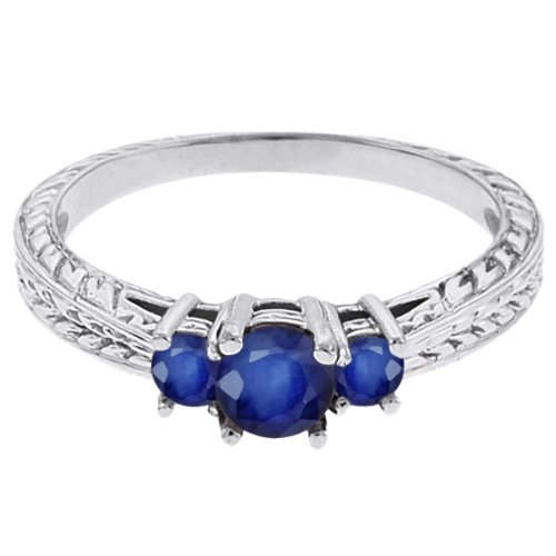 0.62 Ct Round Blue SI1/SI2 Sapphire 14K White Gold 3-Stone Ring