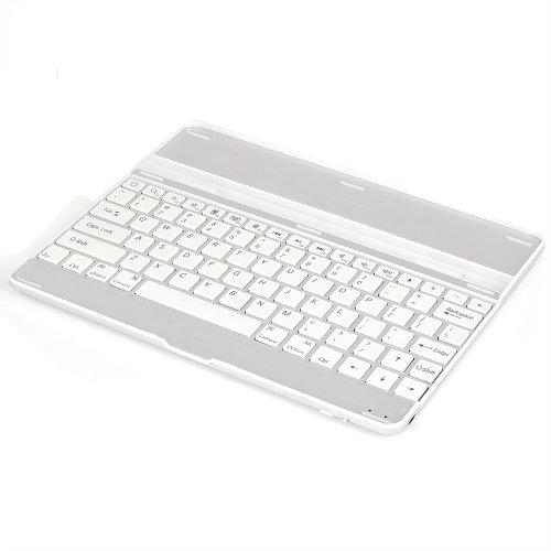 Atc Aluminum Bluetooth Wireless Keyboard Dock Hard Case Stand For Apple Ipad 2 16 Gb, 32 Gb, 64 Gb [Silver Exterior And White Keys]