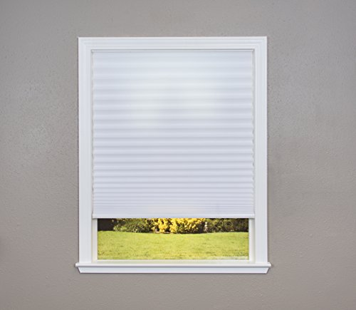 Easy Lift Trim-at-Home Cordless Pleated Light Filtering Fabric Shade White, 36 in x 64 in, (Fits windows 19