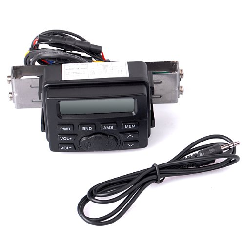 Motorcycle Audio Radio Fm Mp3 1 Stereo Radio Waterproof No Speaker Black