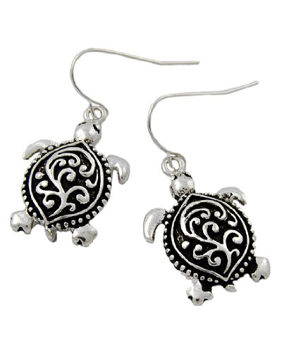 Antique Silver Tone Filigree Turtle Dangles Fish Hook Earrings