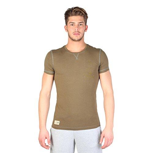 Datch - Maglietta maniche corte cuciture a contrasto - Uomo (XL) (Oliva/Bianco)