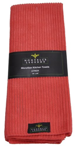 Microfiber Pearl Weave Kitchen Towels (2-Pack, Red)