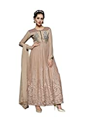 Aarti Saree Trendy Fashionable Brown And Grey Straight Suit With Heavy Embroidery Work