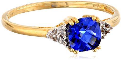 10k Yellow Gold, September Birthstone, Created Blue Sapphire and Diamond-Accent Ring, Size 9