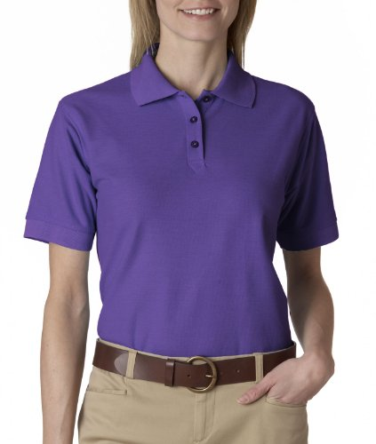 8541 UltraClub Women's Whisper Pique Plain Polo Shirt 3XL Purple