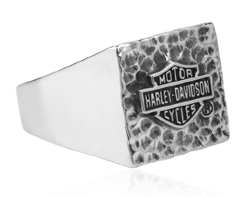 Harley-Davidson .925 Silver Smooth and Dark Silver Combination Hammered Square Ring (10)