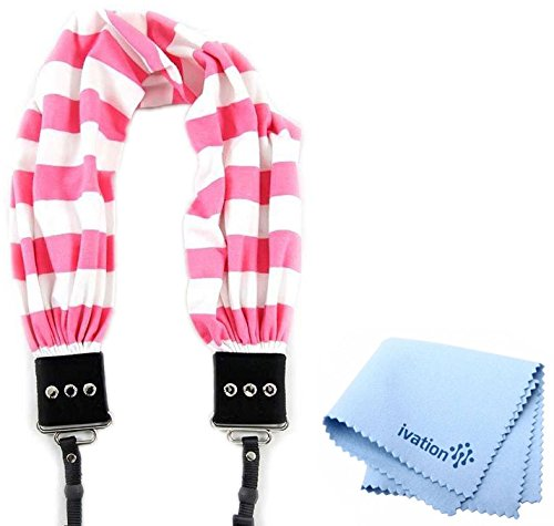 Capturing Couture Pink Stripe Scarf Super Comfortable Camera Strap and a Bonus Ivation Spot Cleaning Cloth