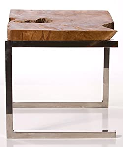 Bare Decor Iceberg Accent Table, Matte Finish Legs and Solid Teak Wood Top