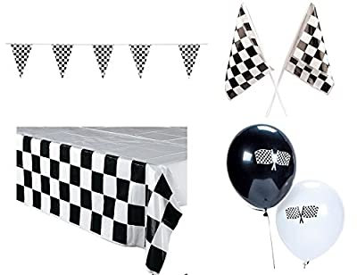 Racing Decorations Party Pack Bundle Black & White Checkered (Tablecover, 100 ft Pennant Banner, Racing Finish Line flags & Balloons)