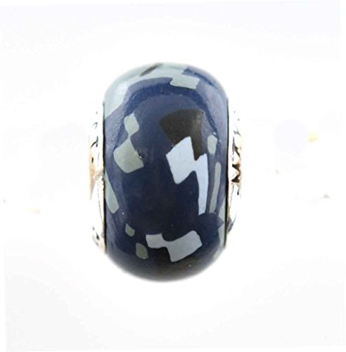 Navy US Digital Camo Camouflage Awareness Ribbon Bead Charm for Add-A-Bead Bracelets Clay & Sterling Silver by MAYselect SIZE Small