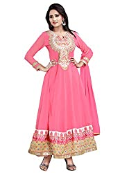 7 Colors Lifestyle Womens Georgette Anarkali Dress Material (Aafsr1006Nzkt _Pink _Free Size)