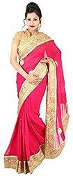 Kasturi Sarees Basement Women's Georgette Saree (Pink)