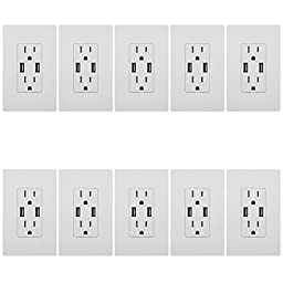 TOPGREENER TU2154A 4A High Speed USB Charger Receptacle 15A Tamper-Resistant Outlet w 2 Wall Plates, 10-Pack White