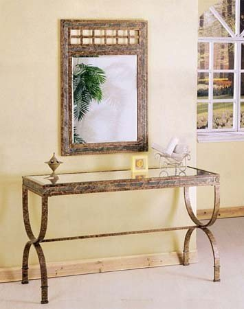 2pc Entry Way Console Table & Mirror Set Brown Metal Frame (VF_AZ00-42303×21551)