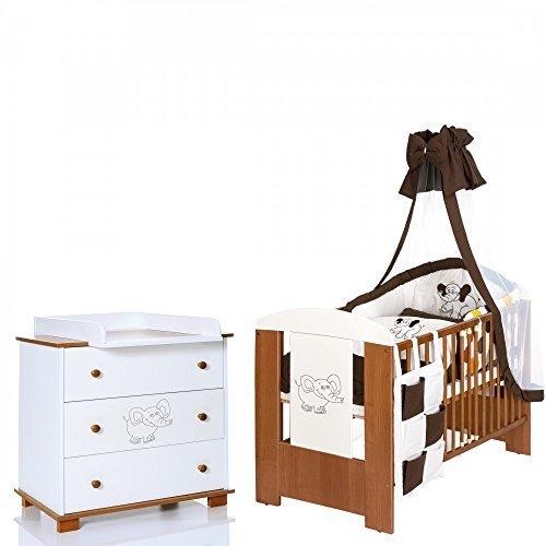Elefant Baby Kinderzimmer Komplett Möbelset mit Bett 120x60 + Matratze, Wickelkommode mit Ablage und 9 Teile Bettwäsche XXL Set