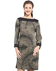 Purys Women's Shift Dress (E-150674SP5974_Brown Black_M)