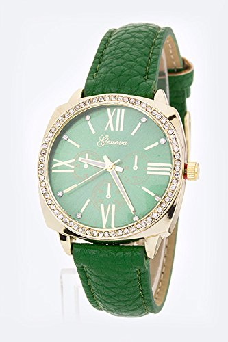Chic Chelsea Grain Leather Strap Fashion Watch (Green)