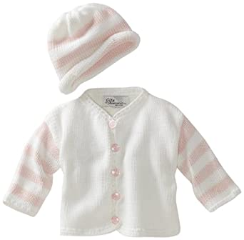 Gita Accessories Baby-Girls Newborn Hand Loomed Sweater And Hat Set, White/Pink, X-Small