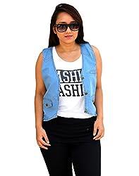 Aarti Collections Stylish Sleeveless Light Blue Women's Denim Jacket