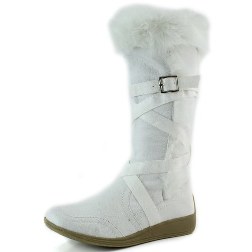 Women's Breckelle'S Vegas-47 White Fur Mid-Calf Wedge Boots Shoes, White, 5.5