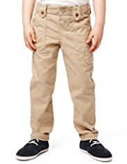 Pure Cotton Adjustable Waist Turn Up Chinos