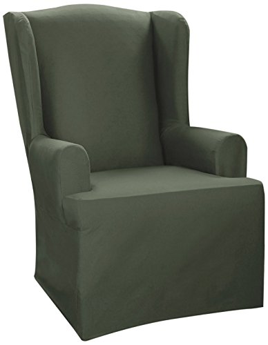 Sure Fit Cvc Canvas Wing Chair Slipcover, Hunter front-930581