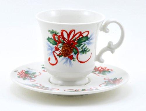 Holly Ribbon & Pinecone Teacup & Saucer Set