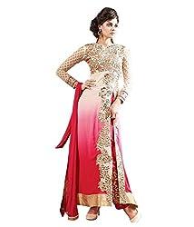 Mahavir Fashion Pink Georgette Dress Material