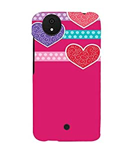 Pink Hearts Love 3D Hard Polycarbonate Designer Back Case Cover for Micromax Android A1 :: Micromax Canvas A1 AQ4502